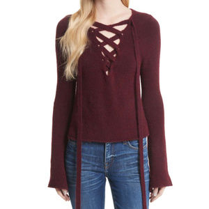 L'Agence XS Bell Sleeve Lace Up V Neck Sweater